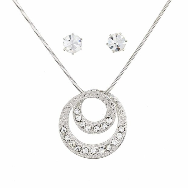 Set Kette + Ohrringe plating/rhodium 047-07-11